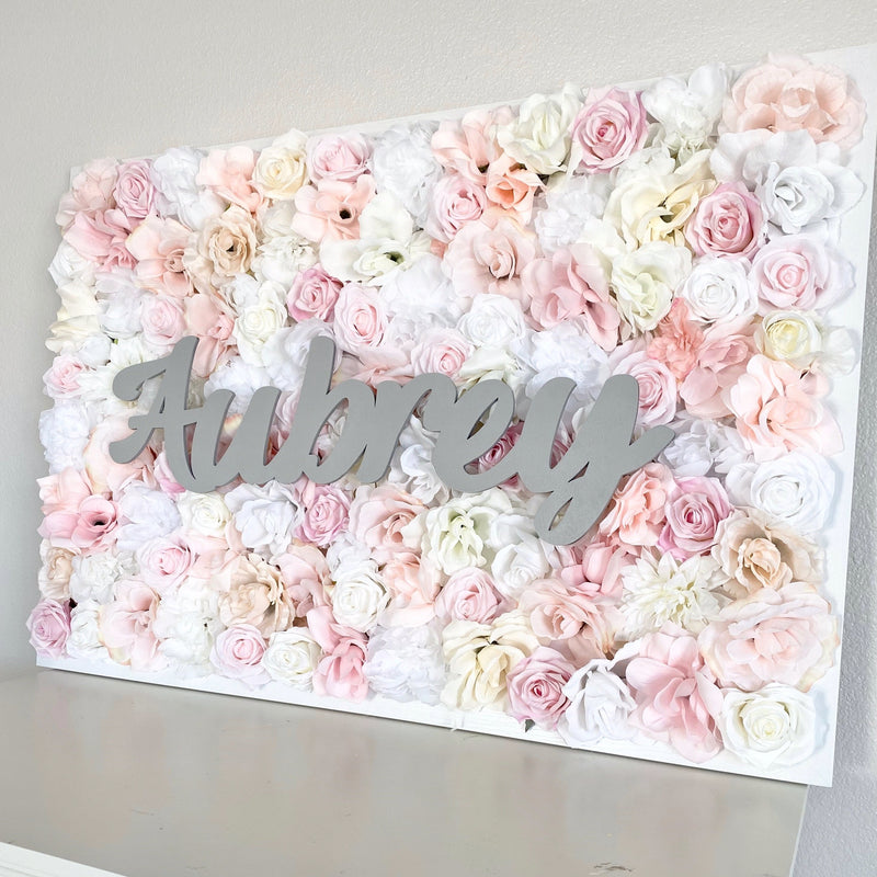 flower wall nursery name sign