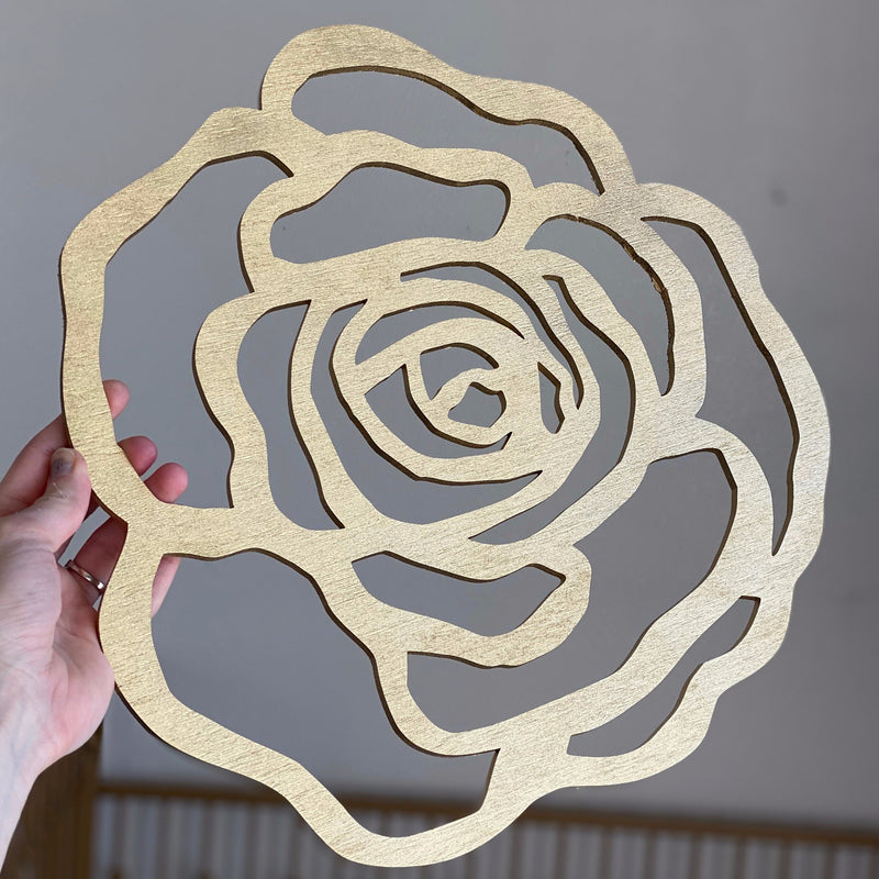 wood flower cut out wood rose flower wall