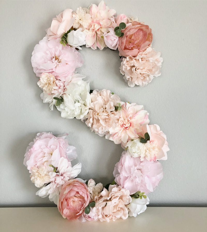 floral letter flower letter mauve and blush decor baby girl shower baby shower decor floral birthday theme