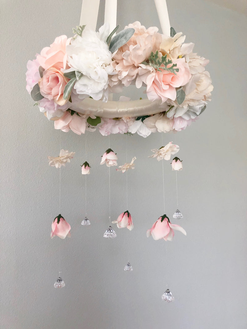 blush nursery decor neutral nursery shabby chic floral mobile flower mobile baby girl mobile baby mobile