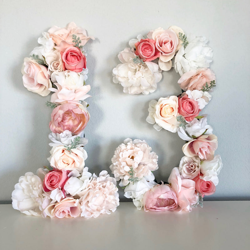 floral number 13th birthday decor teen birthday party decor sweet sixteen decor