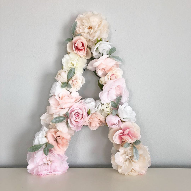 shabby chic nursery decor blush nursery floral letter flower letter bridal shower decor