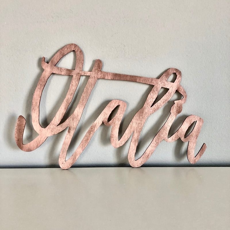 rose gold nursery decor name sign rose gold