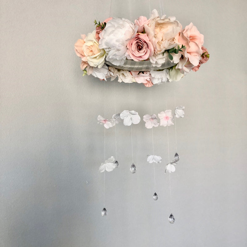dusty pink nursery decor floral wall hanging flower chandelier