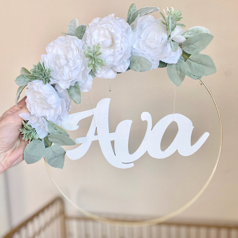 Floral Hoop Wreath Name Sign, Girl Nursery Wall Decor, Door Name Sign, Hospital Room Sign, Baby Name Sign Decor, Flower Wall Decor Nursery