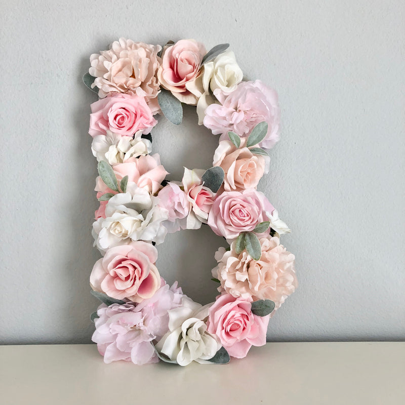 floral letter blush nursery decor blush pink decor nursery name sign
