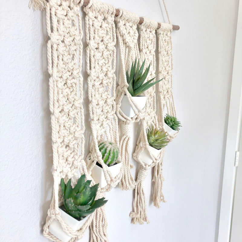 "Macrame Plant Hanger, 25"" x 36"" Macrame Wall Hanging, Boho Chic Farmhouse Decor Boho Home Decor Boho Decor, 5 Pot Plant Hanger, Nursery Wall"