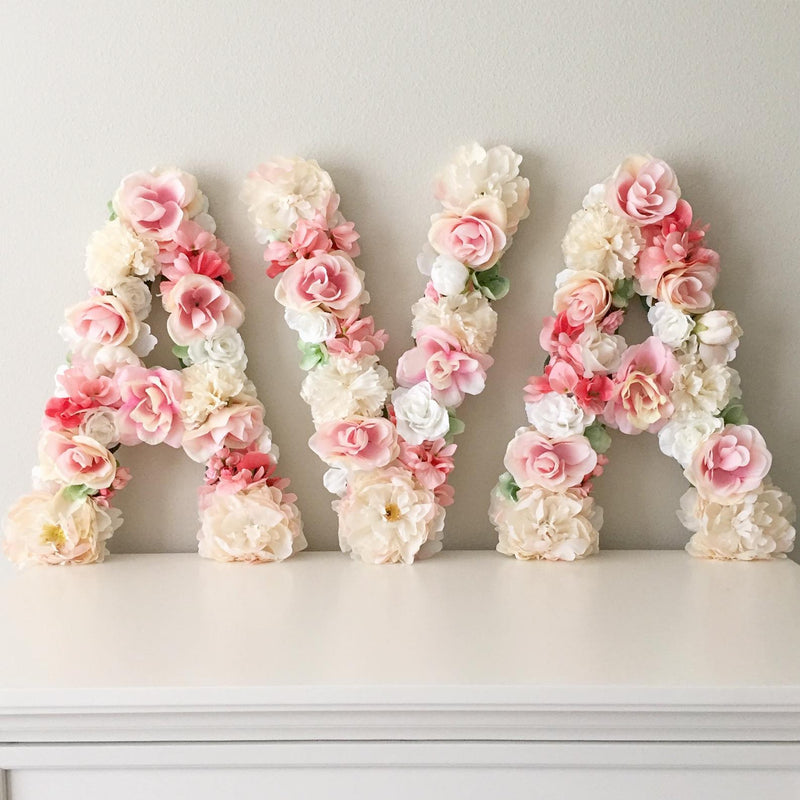 girl name decor nursery name decor girl nursery decor girl floral letter flower letter
