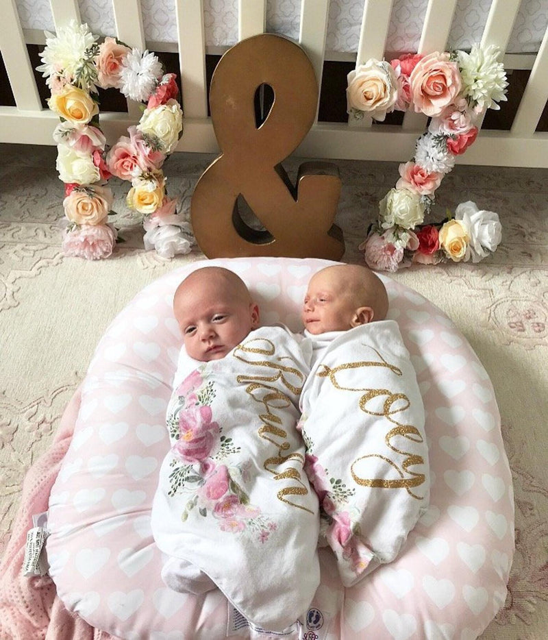 newborn photo prop floral letter flower letter twin name decor name decor for twins