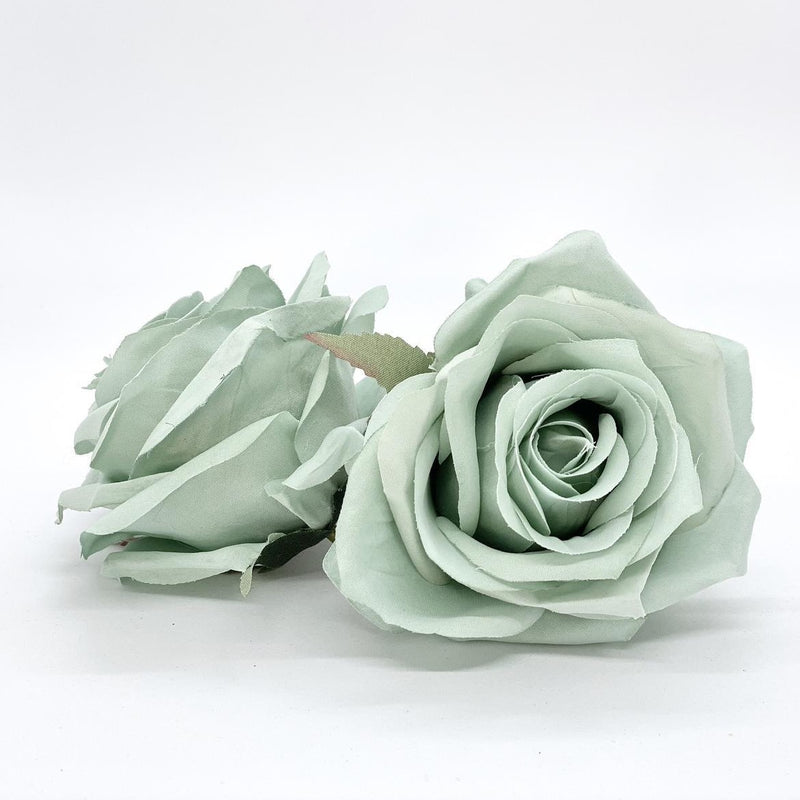 "3.5"" Artificial Mint Rose Flower Mint Artificial Rose Head Sage Green Artificial Flowers Sage Faux Flowers Flower Crown Mint Wedding Decor"
