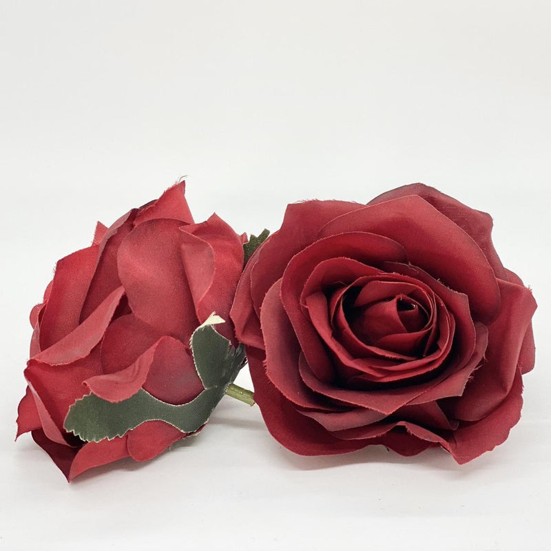 "3.5"" Artificial Red Rose Red Silk Flower Red Rose Head Dark Red Rose Dark Red Silk Flower Red Wedding Flower Red Floral Arrangement Red"