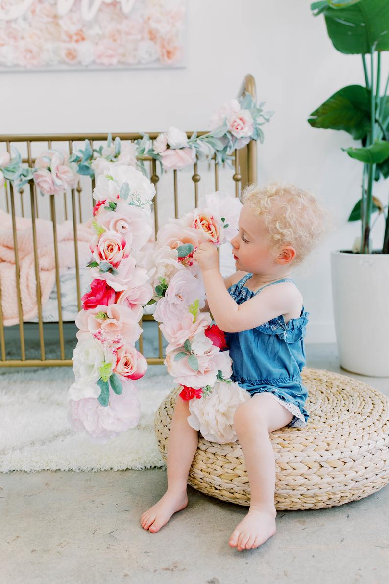 floral letter flower letter birthday girl photo shoot birthday photo prop first birthday photo prop 1st birthday party decor
