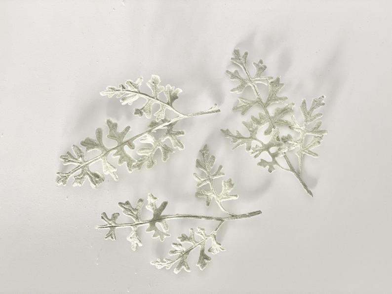Set of 3 Artificial Frosted Dusty Miller Accent Flocked Dusty Miller Plant Faux Dusty Miller Greenery Faux Dusty Miller Sprig Flocked Leave