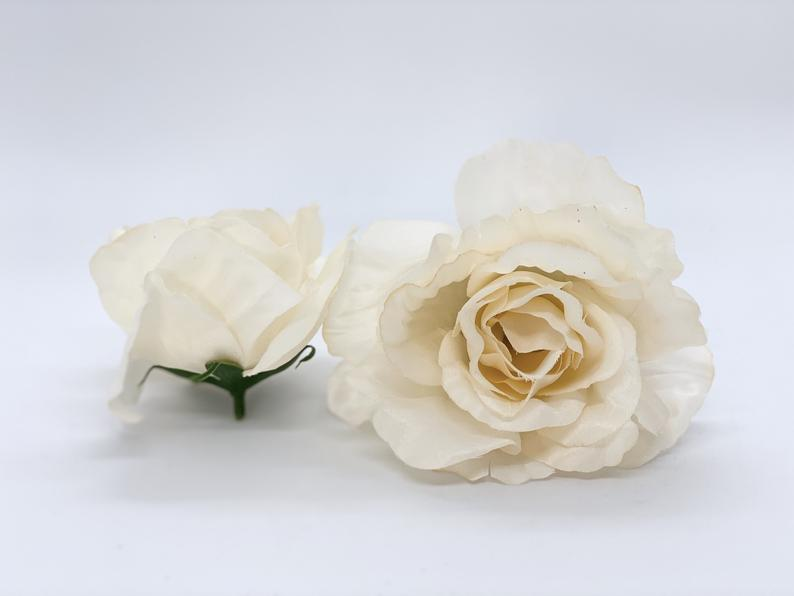 "4.5"" Artificial Beige Rose Tan Silk Flower Beige Silk Flower Taupe Silk Flower Beige Open Rose Fake Rose Beige Wedding Flower Beige Flower"