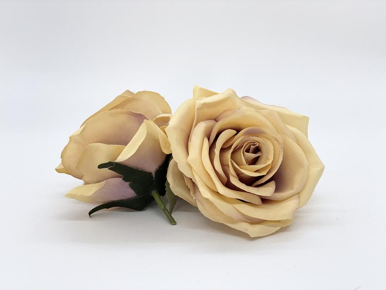 "3.5"" Artificial Taupe Rose Decor Silk Flower Rose Silk Flower Tan Rose Fake Beige Rose Artificial Rose Head Beige Wedding Flower Taupe"