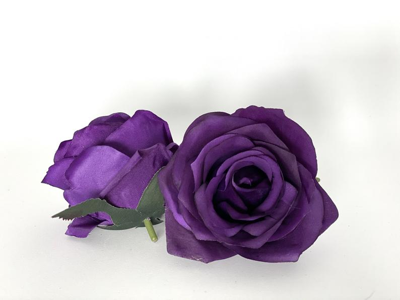 "3.5"" Artificial Purple Rose Head Dark Purple Silk Flower Dark Purple Artificial Rose Purple Wedding Plum Wedding Eggplant Wedding Flower"