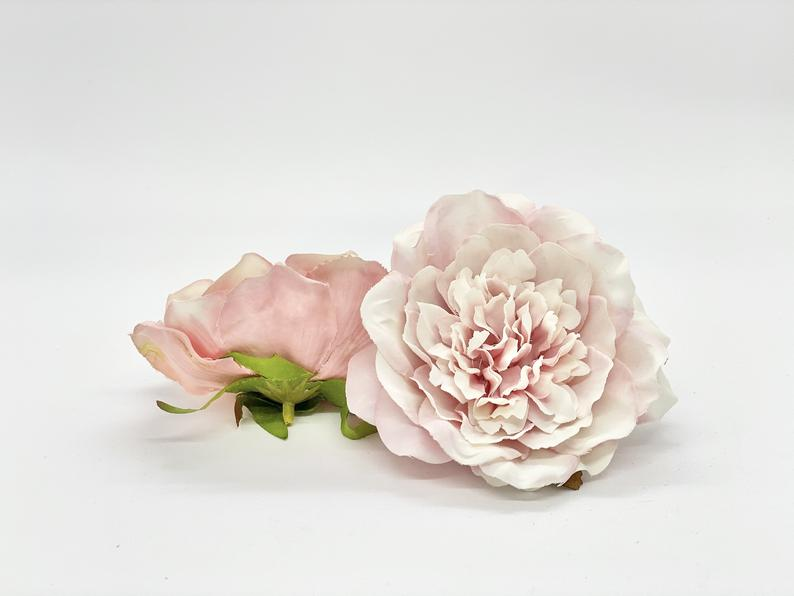 "Large Artificial 4"" Dusty Pink and White Peony Head Light Pink Peony Soft Pink Peony Wedding Decor Peony Wreath Supply Fake Peony Supply"