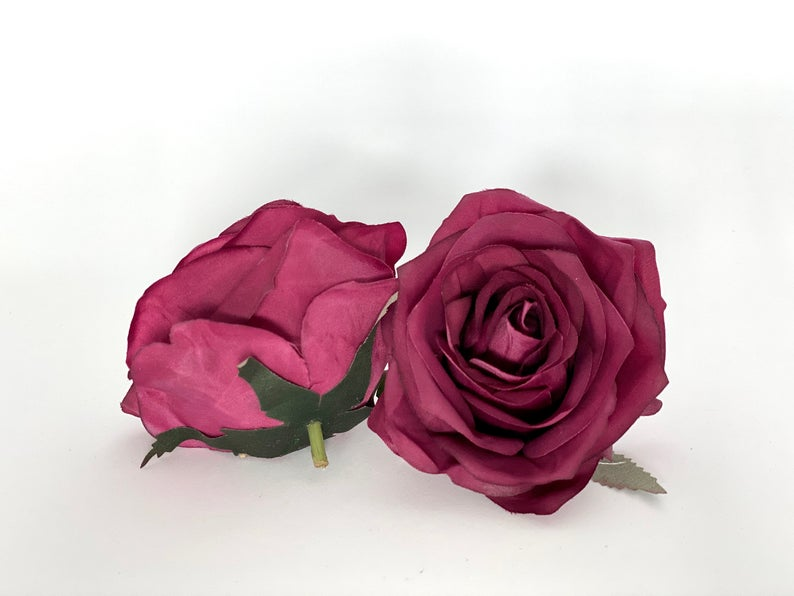 "3.5"" Burgundy Artificial Flower Burgundy Rose Burgundy Silk Flower Burgundy Wedding Flower Artificial Burgundy Flower Burgundy Floral Decor"