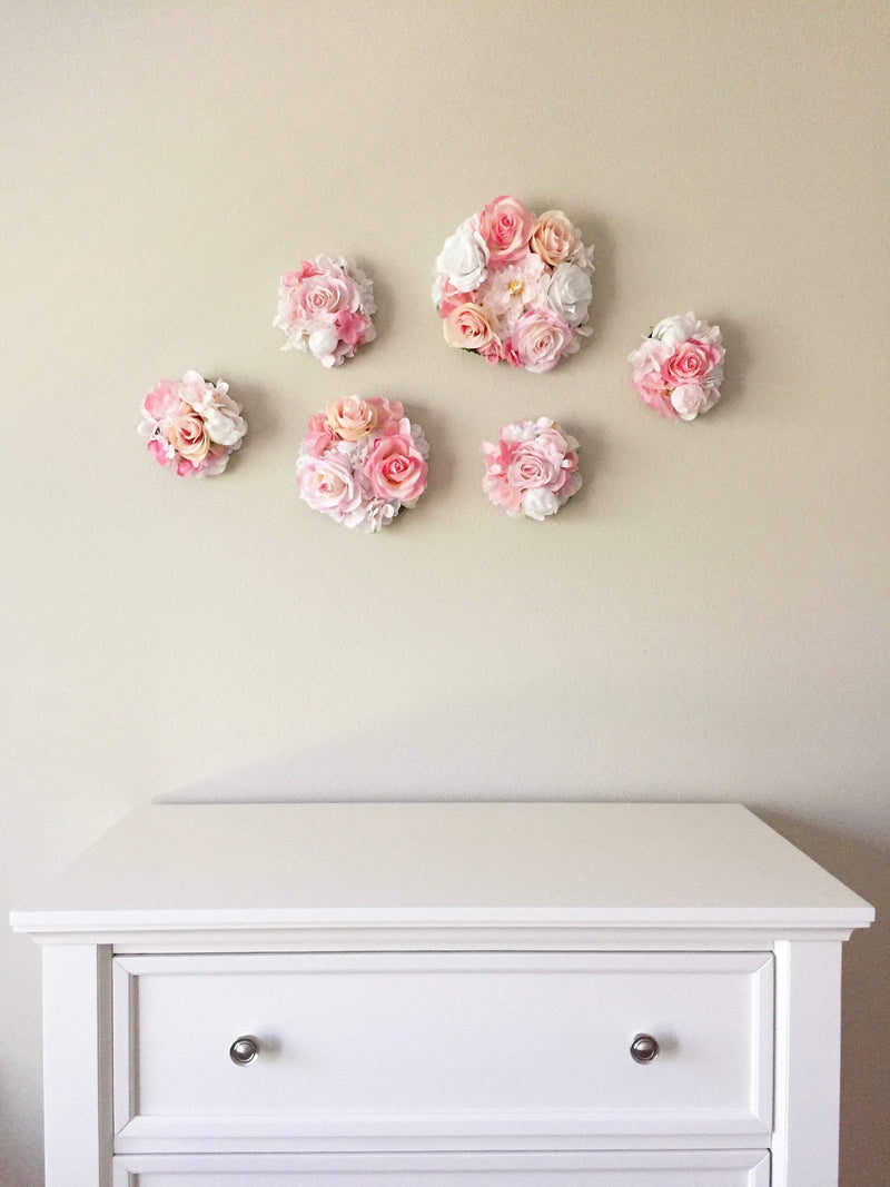 flower wall decor floral nursery decor floral girl decor flower bubble blush nursery