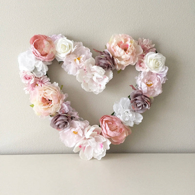 floral wall decor nursery heart shape