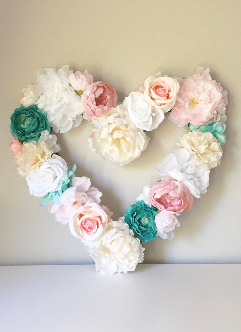 floral heart wedding heart flower heart decor