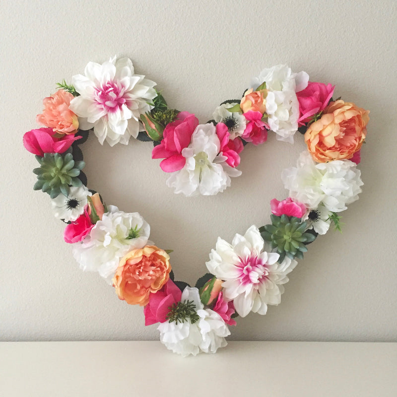 heart shaped floral wall decor flower heart
