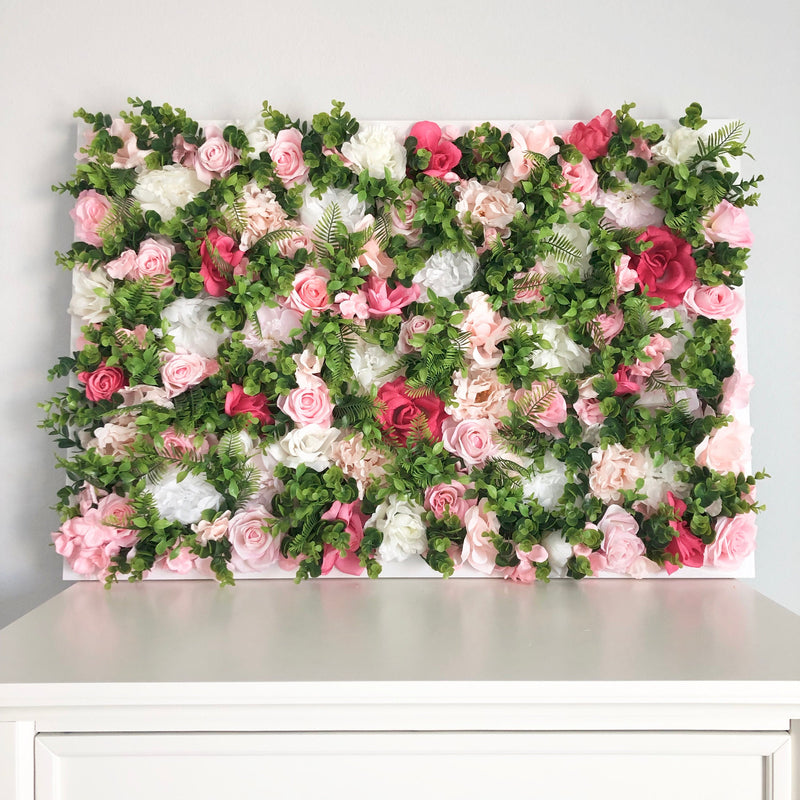 floral wall with greenery backdrop