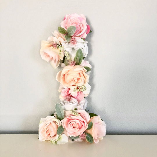first birthday floral number