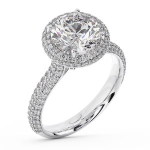 Round Brilliant Micro Pave Halo Diamond Engagement Ring - I Heart Moissanites