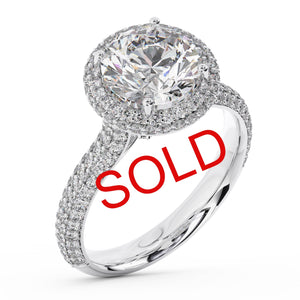 Round Brilliant Micro Pave Halo Diamond Engagement Ring