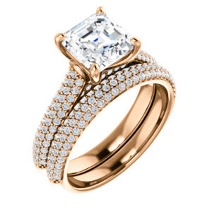 Asscher Pave Style Engagement Ring - I Heart Moissanites
