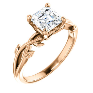 Asscher Solitaire Leaf Design Engagement Ring - I Heart Moissanites