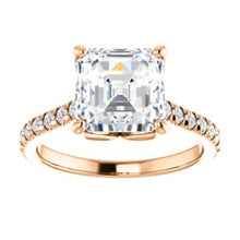 Asscher Claw Set Eternity Style Engagement Ring - I Heart Moissanites