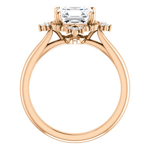 Asscher Diamond Antique Inspired Design Engagement Ring