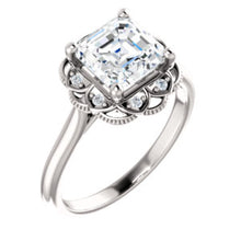 Asscher Antique Inspired Design Engagement Ring