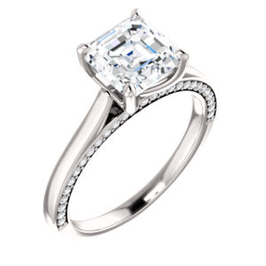 Asscher Solitaire & Hidden Diamond Band Engagement Ring - I Heart Moissanites