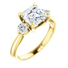 Asscher Accent Engagement Ring - I Heart Moissanites