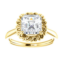 Asscher Solitaire Antique Inspired Design Engagement Ring