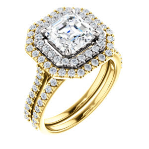 Asscher Double Halo Style Engagement Ring - I Heart Moissanites