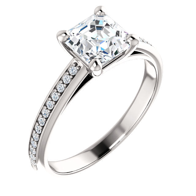 Asscher Claw Set Style Engagement Ring - I Heart Moissanites