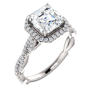 Asscher Twist Halo Style Engagement Ring - I Heart Moissanites
