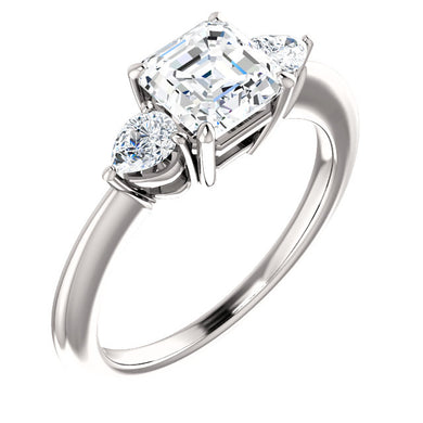 Asscher Tri -Stone Style Pear Accent Engagement Ring - I Heart Moissanites