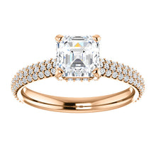 Asscher Hidden Halo Pave Style Engagement Ring - I Heart Moissanites