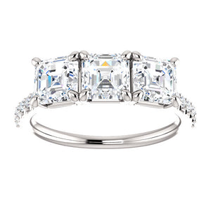 Asscher Tri -Stone Style Engagement Ring - I Heart Moissanites