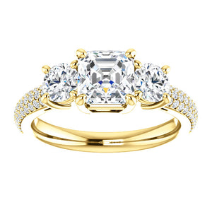Asscher Tri -Stone Accent Engagement Ring - I Heart Moissanites