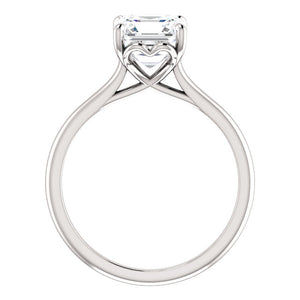 Four Claw Asscher Solitaire Engagement Ring - I Heart Moissanites