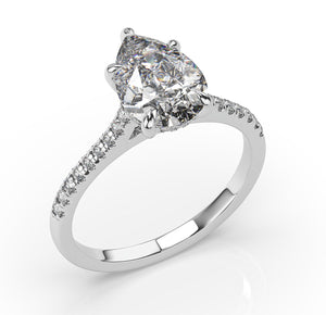 Pear Five Claw Hidden Halo Engagement Ring