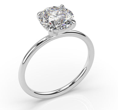 Round Brilliant Four Claw Thin Band Solitaire Engagement Ring