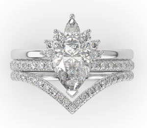 Pear Contour & Pointed Moissanite Wedding Set