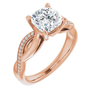 Cushion Claw Set Twist Style Engagement Ring